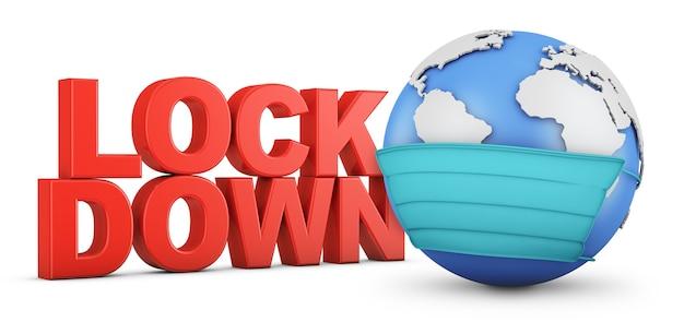 Volumetrischer roter text lockdown neben einem globus in einer schutzmaske. 3d-rendering