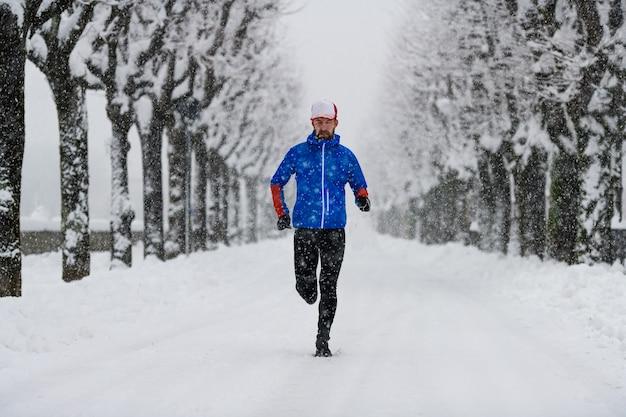 Von bäumen gesäumte allee voller schnee mit einem läufer mitten auf der straße