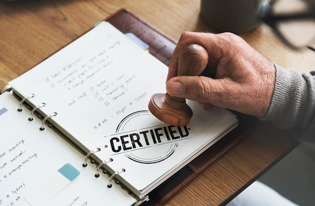 Von der garantie genehmigtes autorisiertes zertifiziertes konzept