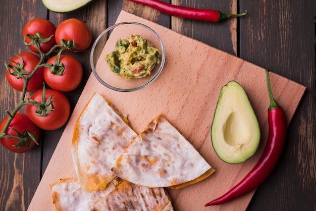 Von der obigen anordnung des mexikanischen unterschiedlichen essens