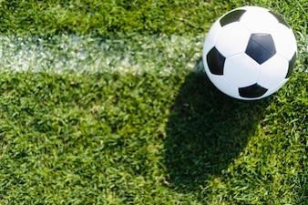 Von oben Ball auf weißer Linie