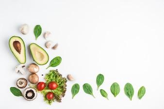 Von oben sortiertes Gemüse