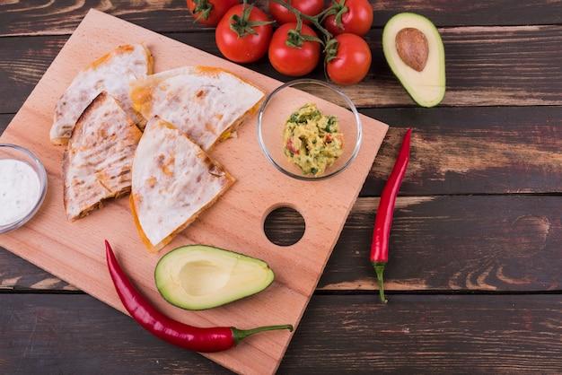 Von oben zusammensetzung des mexikanischen essens