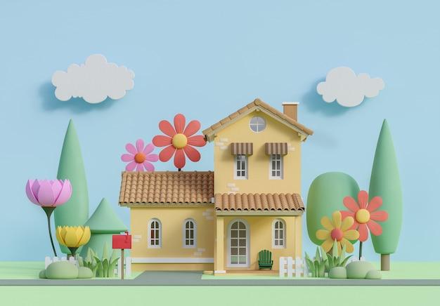 Vor dem kleinen haus in pastellfarben-cartoon-stil-bild 3d-rendering