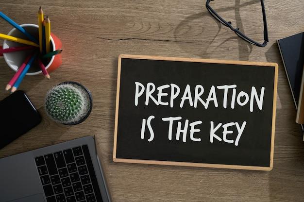 Vorbereitet sein und vorbereitung ist der schlüsselplan