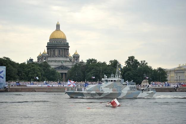 Vorbereitung für die marineparade in st. petersburg an der newa