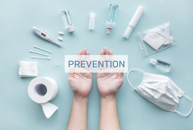 Vorbeugen und schützen sie sich konzept