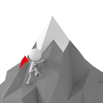 Vorbildliches klettern der leute zum berg