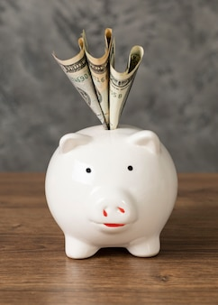 Vorderansicht anordnung des sparschweins mit banknoten