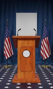 Vorderansicht der amerikanischen flaggen und des podiums für uns wahlen