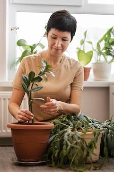 Vorderansicht der frau, die eine zimmerpflanze pflegt