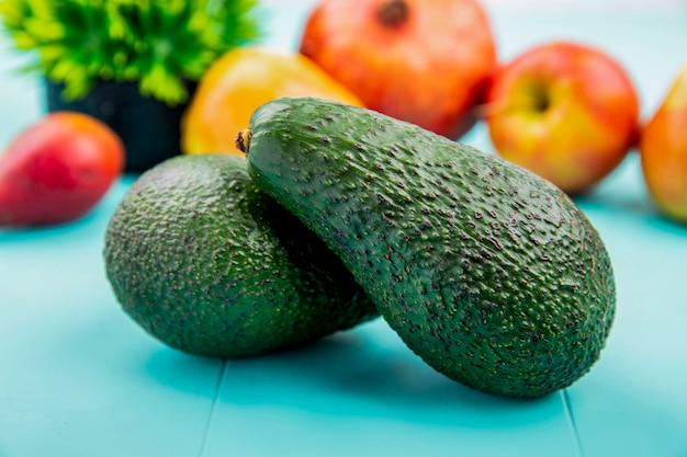 Vorderansicht der grünen und frischen avocado auf blauer oberfläche
