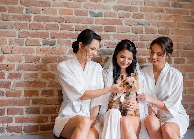 Vorderansicht der jungen braut mit freundinnen, die einen yorkshire-terrier auf einem backsteinmauerhintergrund streicheln