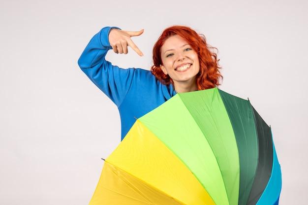 Vorderansicht der jungen frau mit buntem regenschirm auf weißer wand