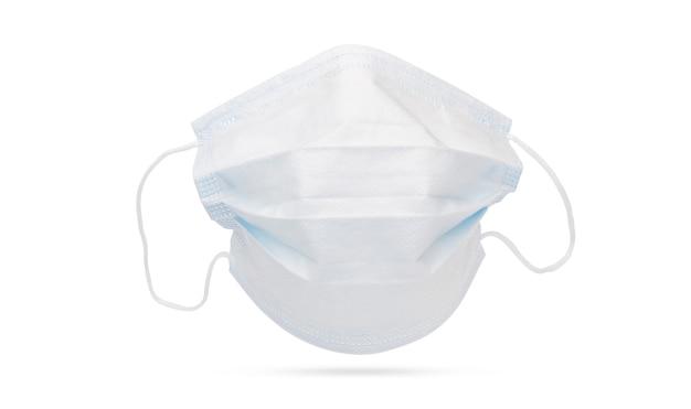 Vorderansicht der medizinischen gesichtsmaske lokalisiert auf weiß