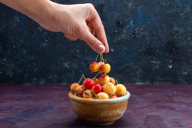 Vorderansicht der pflaumen der frischen früchte innerhalb der platte auf der dunklen oberfläche