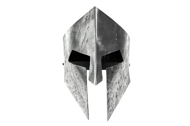 Vorderansicht des alten eisernen spartanischen helms lokalisiert