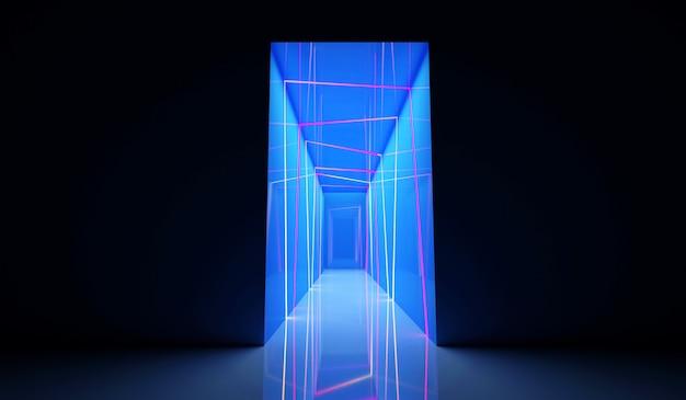 Vorderansicht des beleuchteten farbigen neontunneleingangs mit blauen lichtern