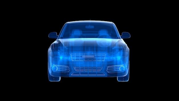 Vorderansicht des blauen röntgenautos. 3d-wiedergabe