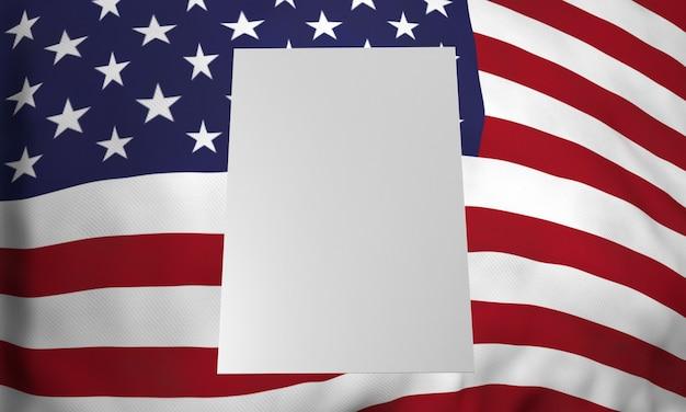 Vorderansicht des leeren plakats mit amerikanischer flagge für uns wahlen