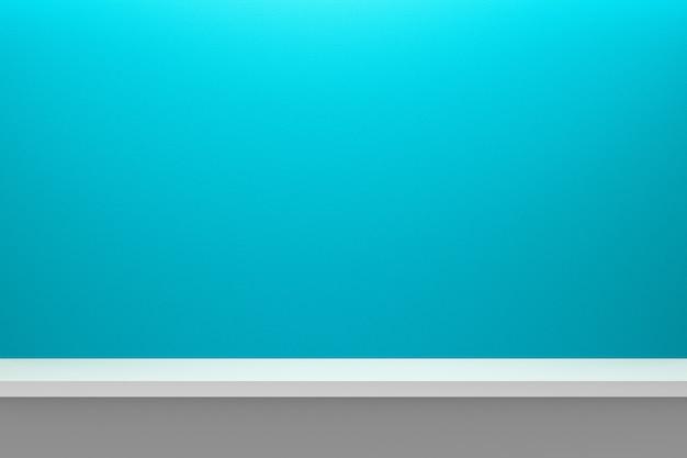 Vorderansicht des leeren regals auf hellblauem tabellen- und wandhintergrund mit modernem minimalem konzept.