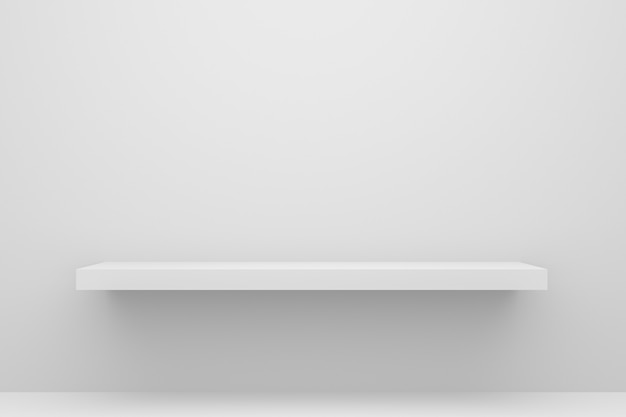 Vorderansicht des leeren regals auf weißem tabellen- und wandhintergrund mit modernem minimalem konzept.