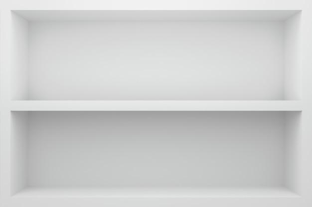 Vorderansicht des leeren regals auf weißem tabellenschaukasten- und -wandhintergrund mit modernem minimalem konzept.