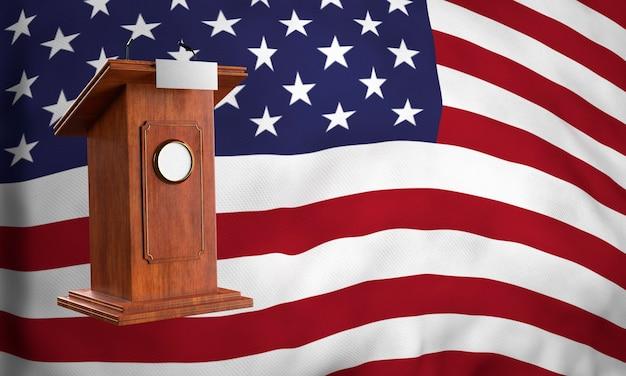 Vorderansicht des podiums mit flagge für uns wahlen