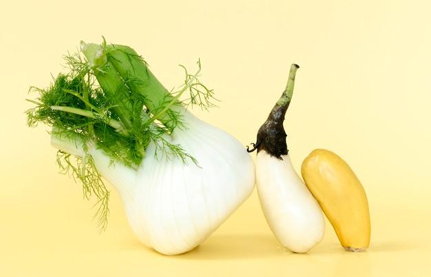 Vorderansicht des rettichs mit auberginen und zucchini