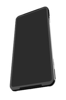 Vorderansicht des schwarzen smartphones mit leerem bildschirmkonzept des mobilen spielens