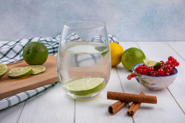 Vorderansicht des wassers in einem glas mit limette und zitrone auf einem brett mit zimt und roten johannisbeeren auf einer weißen oberfläche