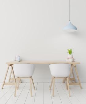 Vorderansicht eines arbeitsinnenraums mit weißer wand