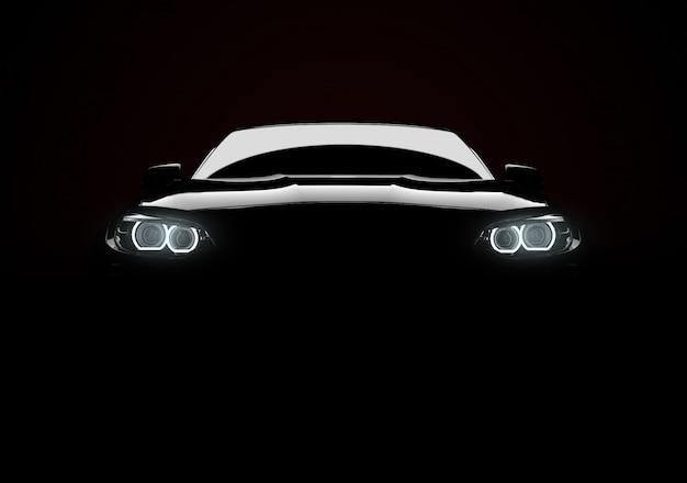 Vorderansicht eines generischen und markenlosen modernen autos mit lichtern auf einem schwarzen hintergrund