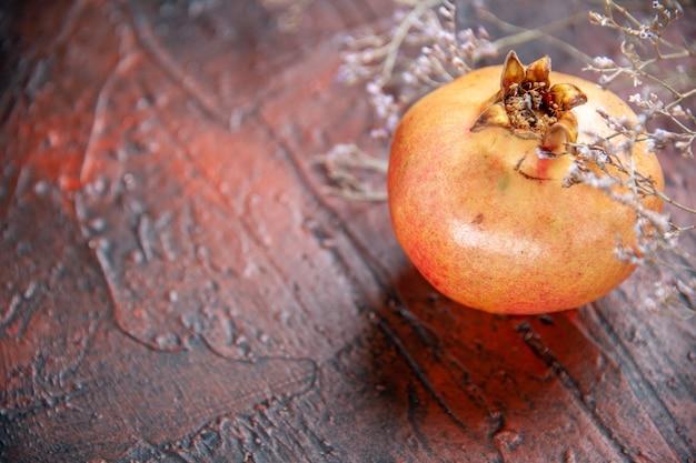 Vorderansicht frischer granatapfel getrockneter wildblumenzweig auf freiem platz Kostenlose Fotos
