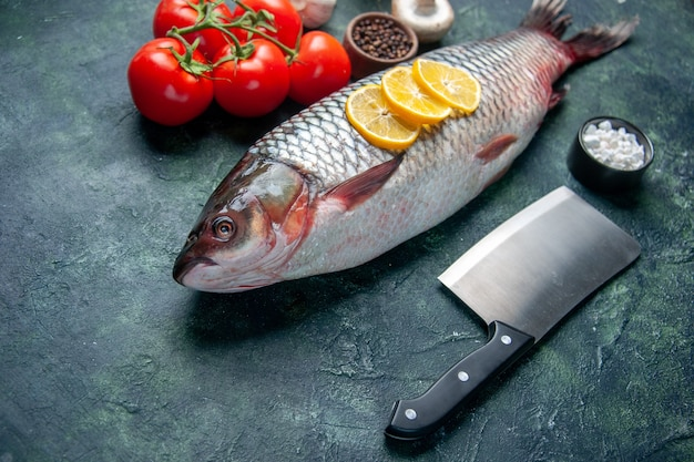 Vorderansicht frischer roher fisch mit zitronenscheiben und tomaten auf dunkelblauer oberfläche hai meeresfrüchte mahlzeit ozean horizontale nahrung tierfleisch wasser abendessen