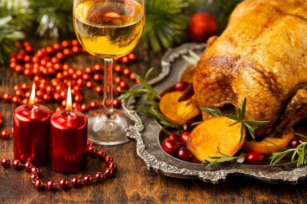 Vorderansicht köstliches weihnachtsessen-sortiment