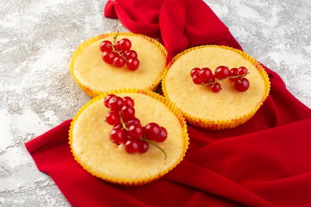 Vorderansicht kuchen mit preiselbeeren lecker und perfekt auf dem hellen schreibtisch gebacken