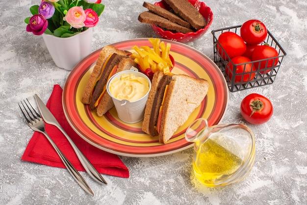 Vorderansicht leckere toastsandwiches mit käseschinken in teller mit pommes frites sauerrahm und öl auf weiß