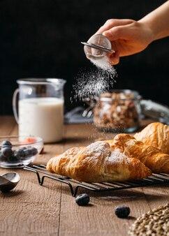 Vorderansicht leckeres frühstück mahlzeit arrangement