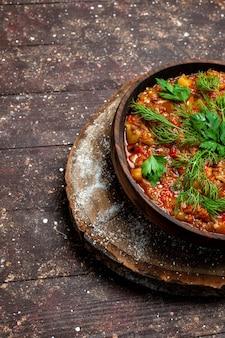 Vorderansicht leckeres gekochtes essen besteht aus geschnittenem gemüse und gemüse