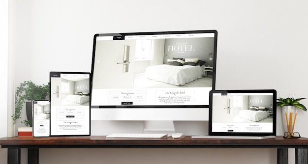 Vorderansicht reaktionsschnelle hotel-website-geräte home-website 3d-rendering
