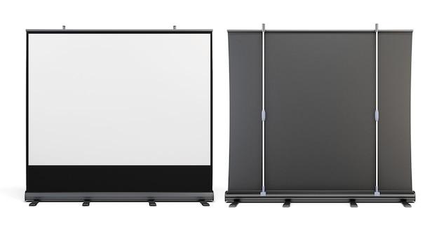 Vorderansicht und rückansicht der tragbaren bildschirme für 3d-rendering von präsentationen.