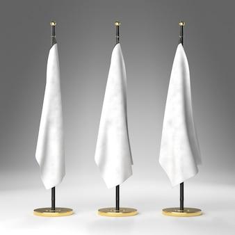 Vorderansicht von drei weißen fahnen mit sockel