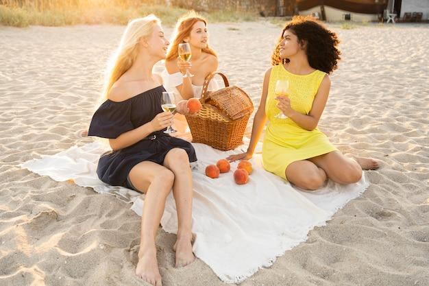 Vorderansicht von mädchen, die ein picknick am strand haben