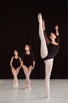 Vorderansicht von professionellen balletttänzern, die zusammen üben, während sie spitzenschuhe tragen