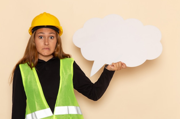 Vorderansicht weiblicher baumeister im gelben helm, der weißes zeichen auf weißem boden weiblich hält