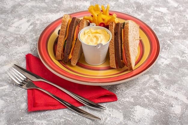 Vordere nahansicht leckere toastsandwiches mit käseschinken in teller mit pommes frites und sauerrahm