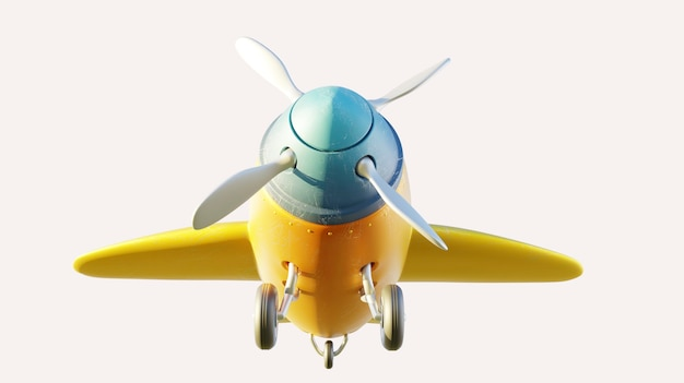Vordere und niedrige winkelansicht des retro niedlichen gelben und blauen zweisitzigen flugzeugs lokalisiert auf weißem hintergrund. 3d-rendering .