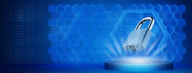 Vorhängeschloss auf einem futuristischen hintergrund. informationssicherheitskonzept. sicherheitskonzept. freier platz für werbung.