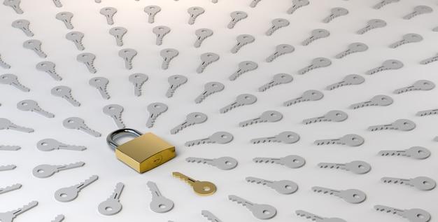 Vorhängeschloss mit schlüsseln geschlossen. problem- und lösungskonzept. 3d-darstellung. privatsphäre, sicher.